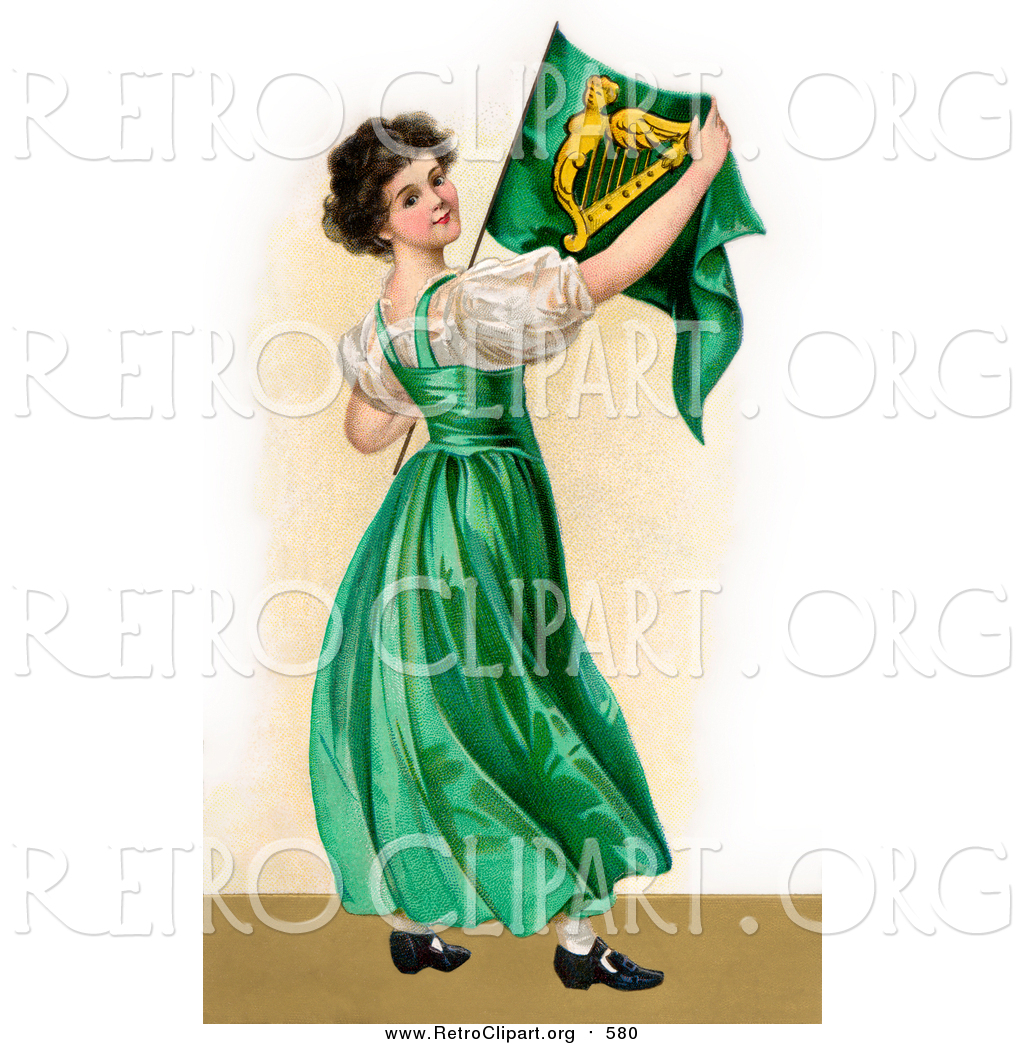 clipart of a patriotic irish lady wearing a green dress holding
