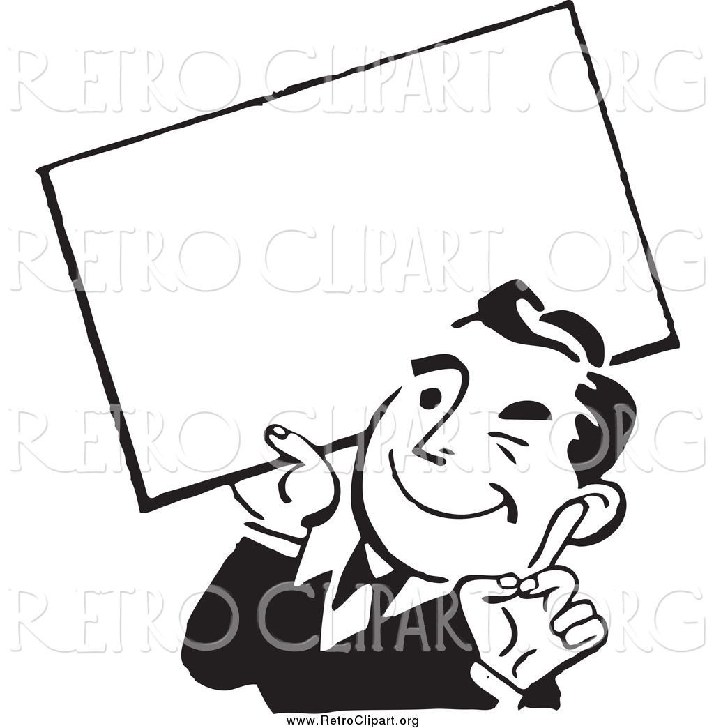 clipart-of-a-retro-black-and-white-business-man-winking-and-holding-a-blank-sign-by-bestvector-2013.jpg