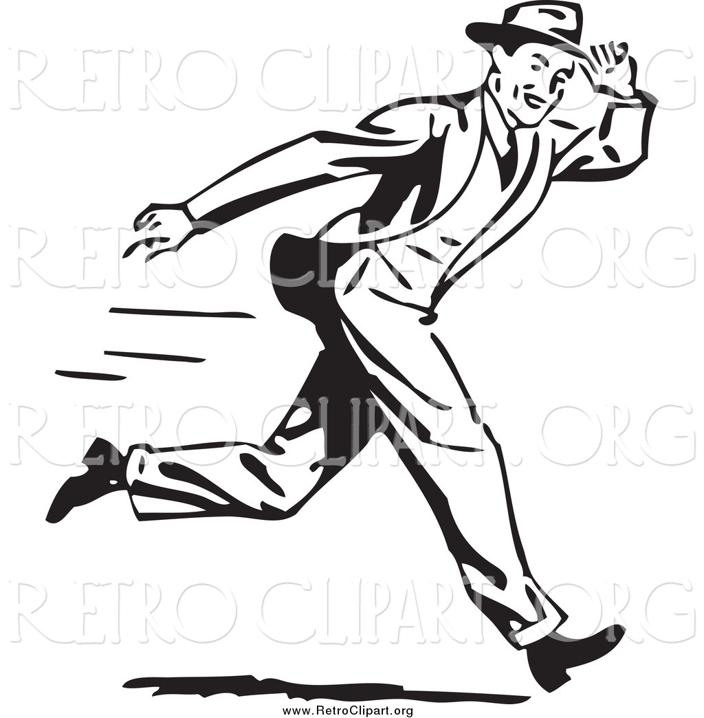 ... of a Retro Black and White Guy Holding onto His Hat While Running Run Clip Art Black And White