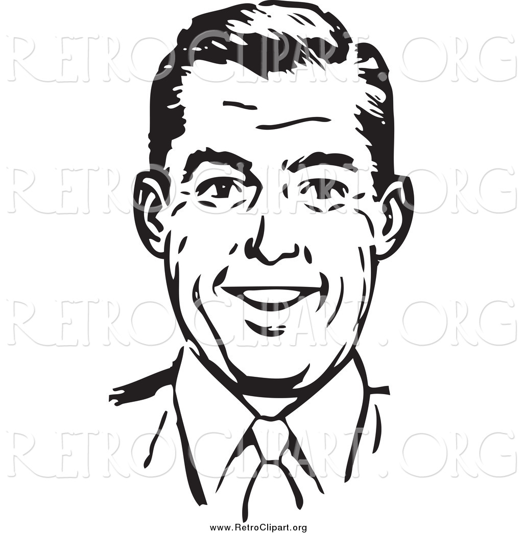Clipart of a Retro Black and White Happy Man Smiling by ...