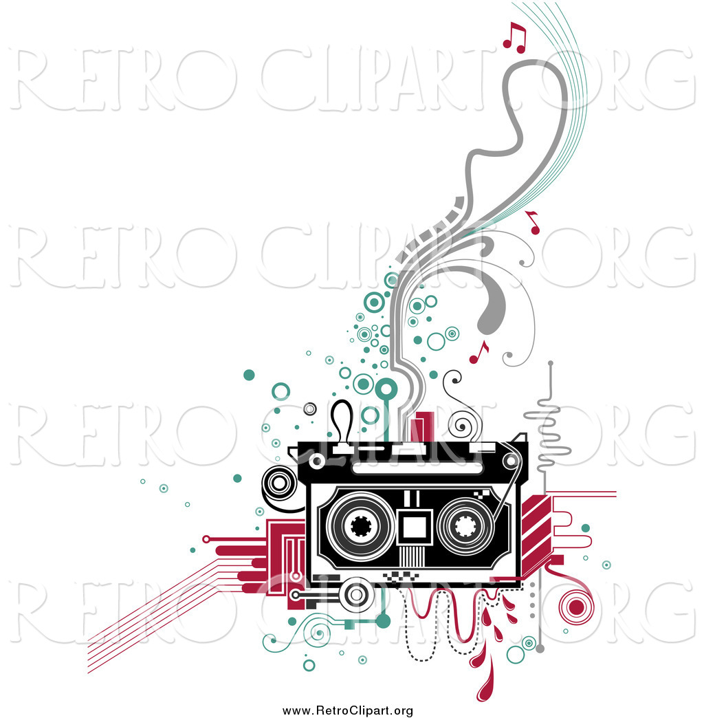 clipart of a retro cassette tape and flourishes by bnp. Black Bedroom Furniture Sets. Home Design Ideas