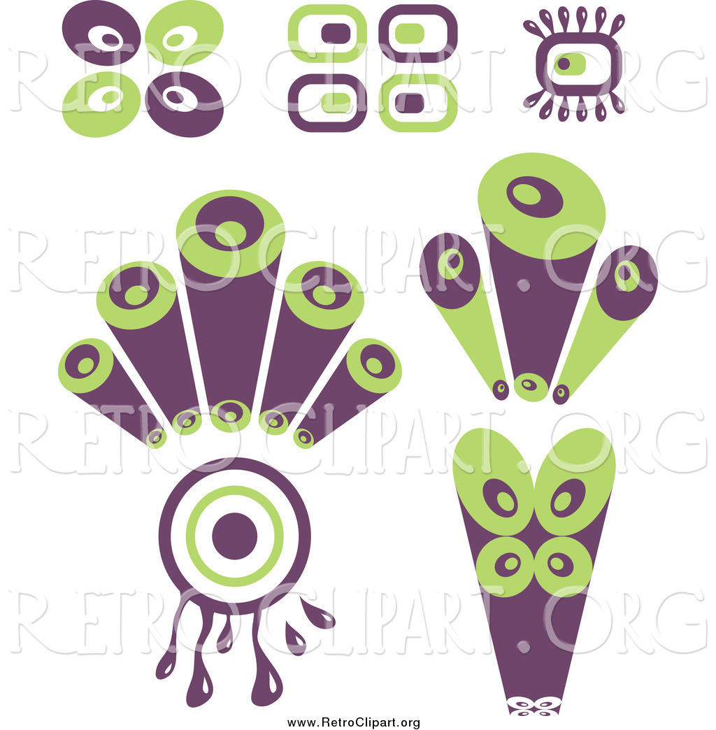 purple and green designs