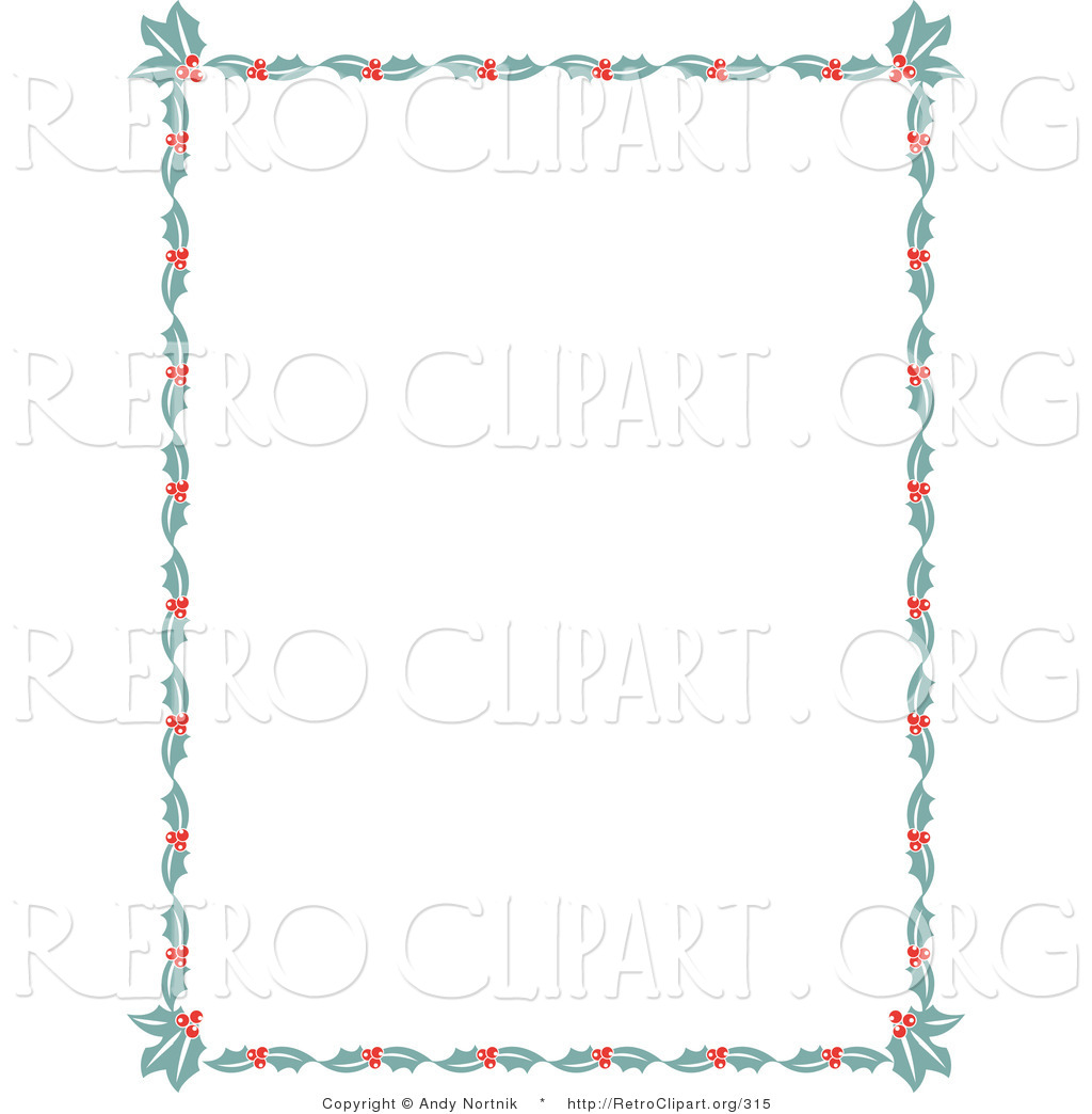 Retro Clipart of a Christmas Stationery Border of Holly Leaves and ...