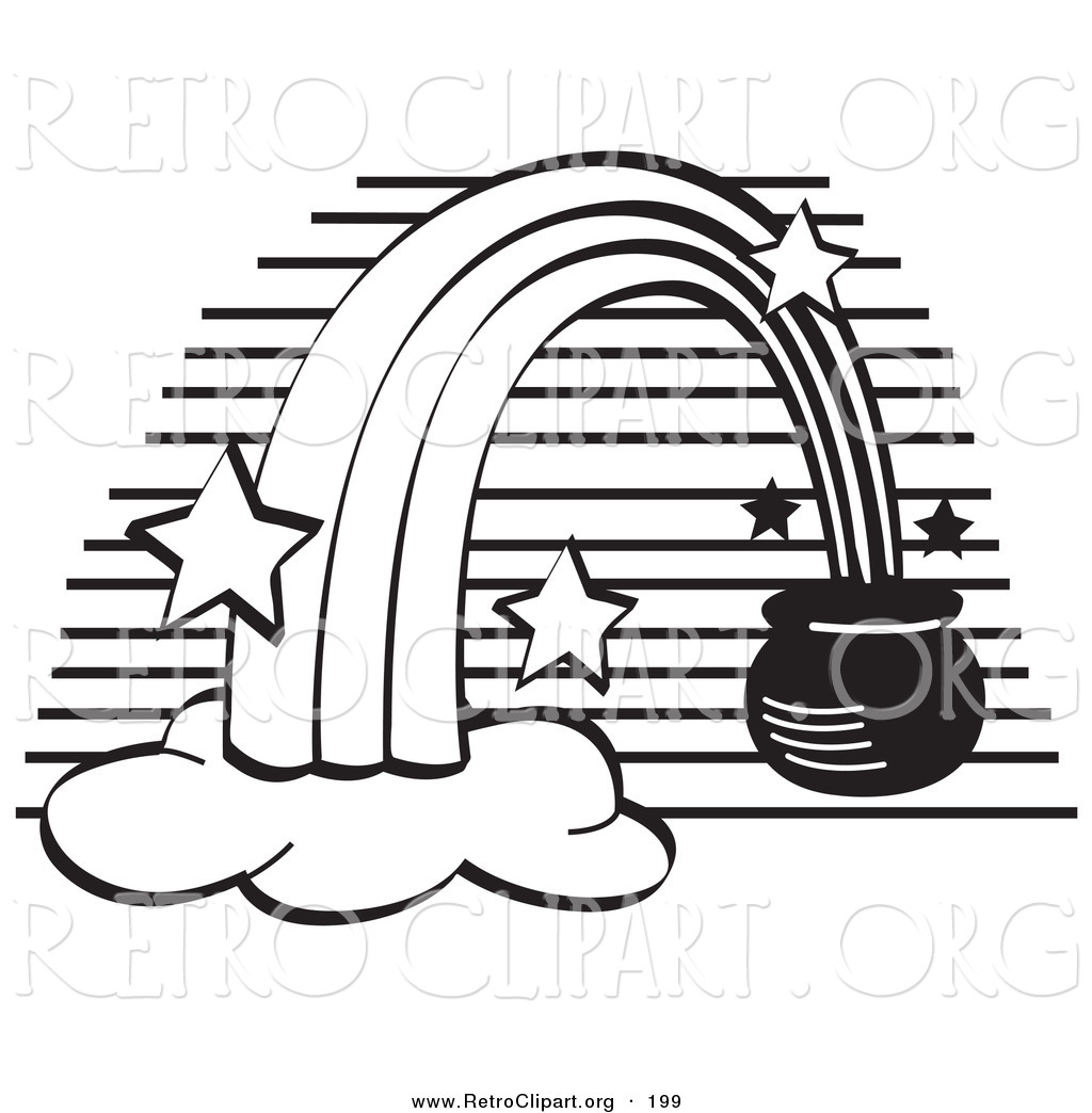 retro clipart of a coloring page of a pot of gold at the end of a
