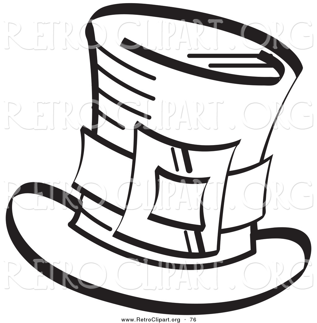 Retro Clipart Of A Coloring Page An Irish Leprechauns Tophat With Buckle In Black