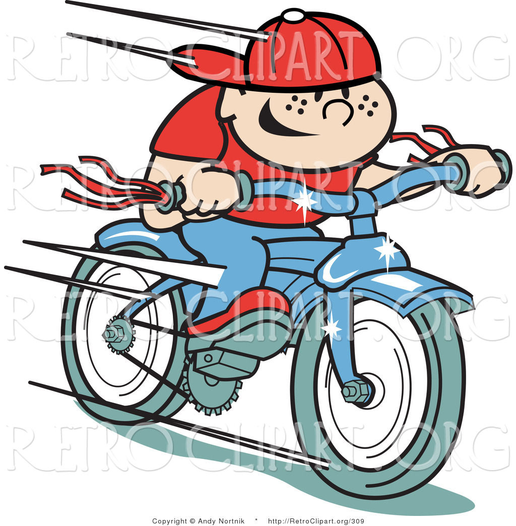 Retro Clipart Of A Happy Boy Riding A Brand New Blue Bike Downhill