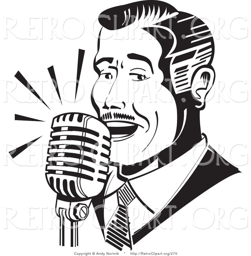 Retro Clipart of a Retro Man Singing or Announcing into a ...
