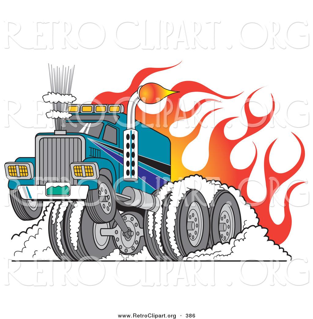 retro clipart of a tough big rig rod semi truck flaming and