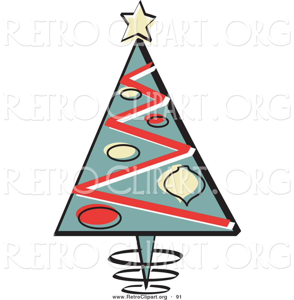 Retro Clipart of a Triangular Christmas Tree with Ornaments and a ...