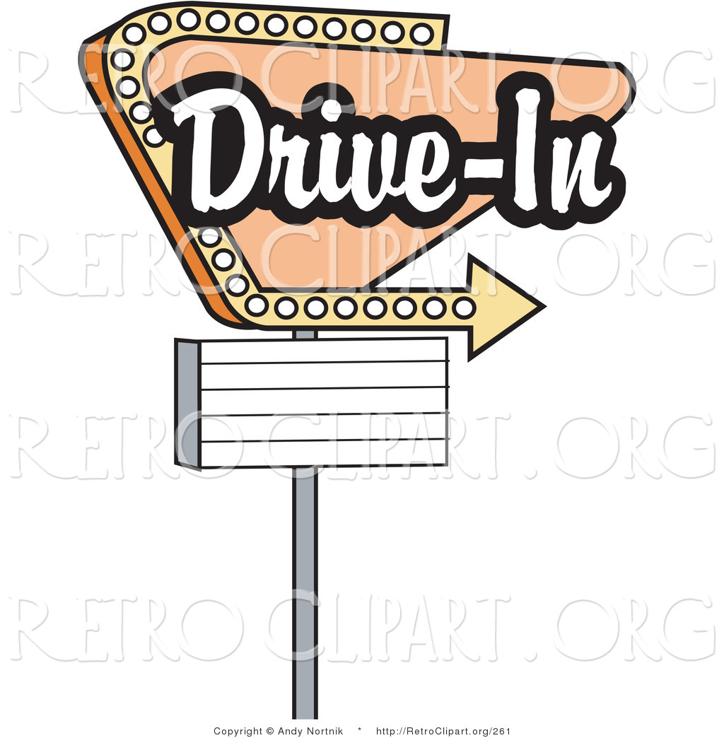 Retro Clipart of a Vintage Beige Drive in Sign with an Arrow by Andy ...