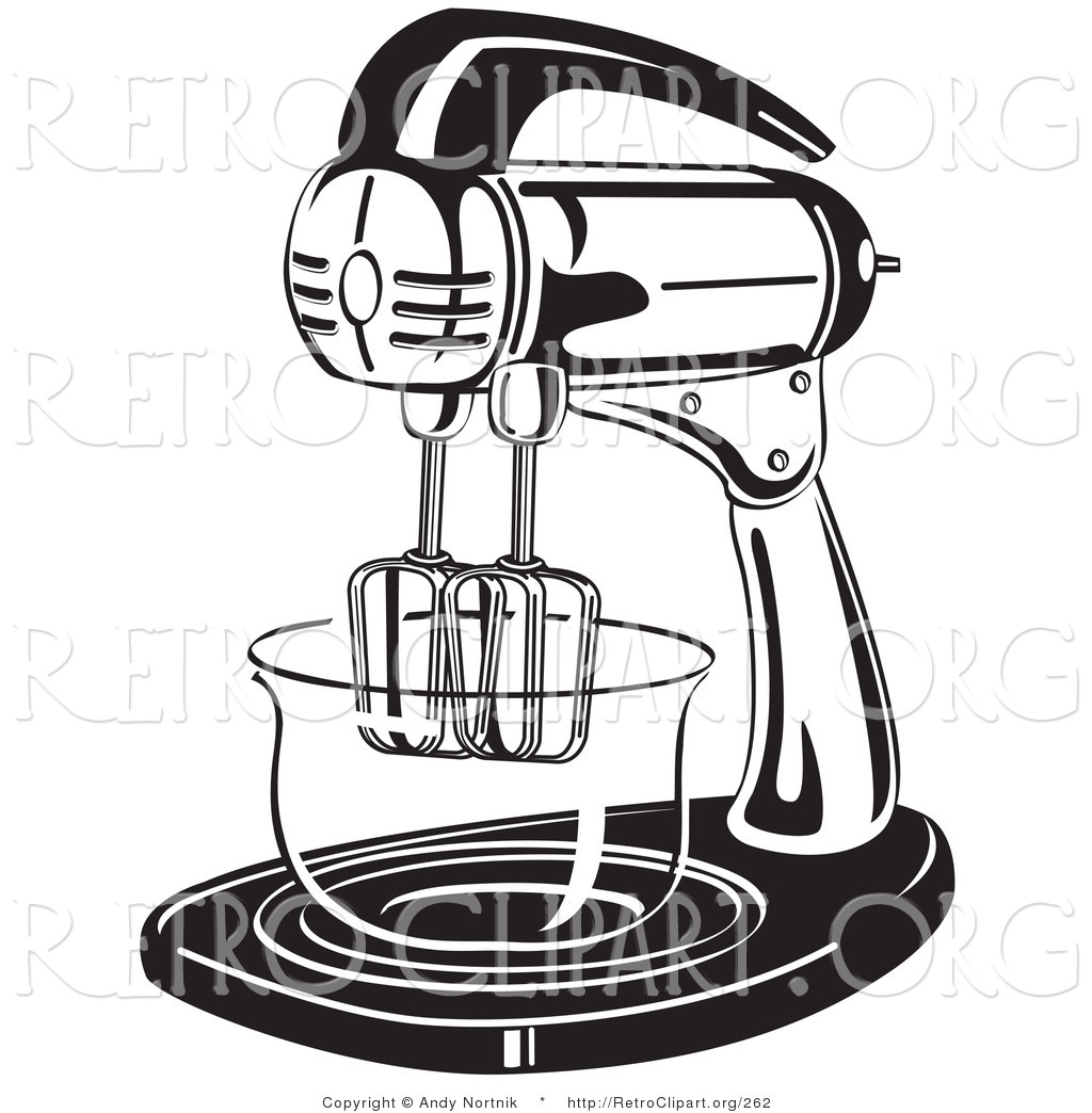 Retro Clipart Of An Electric Stand Mixer In A Kitchen