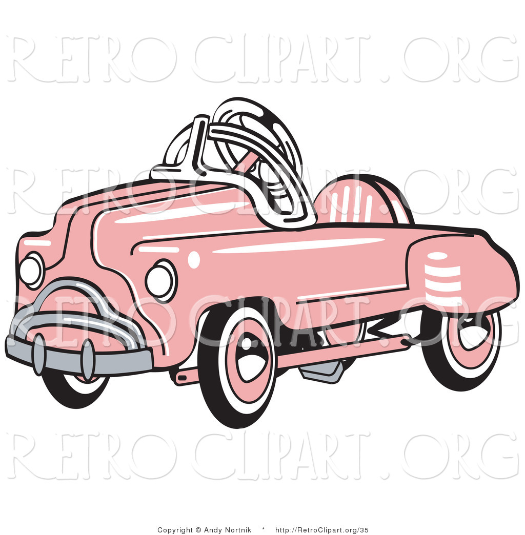 Retro Clipart Of An Old Fashioned Pink Metal Pedal Convertible Toy Car By Andy Nortnik 35