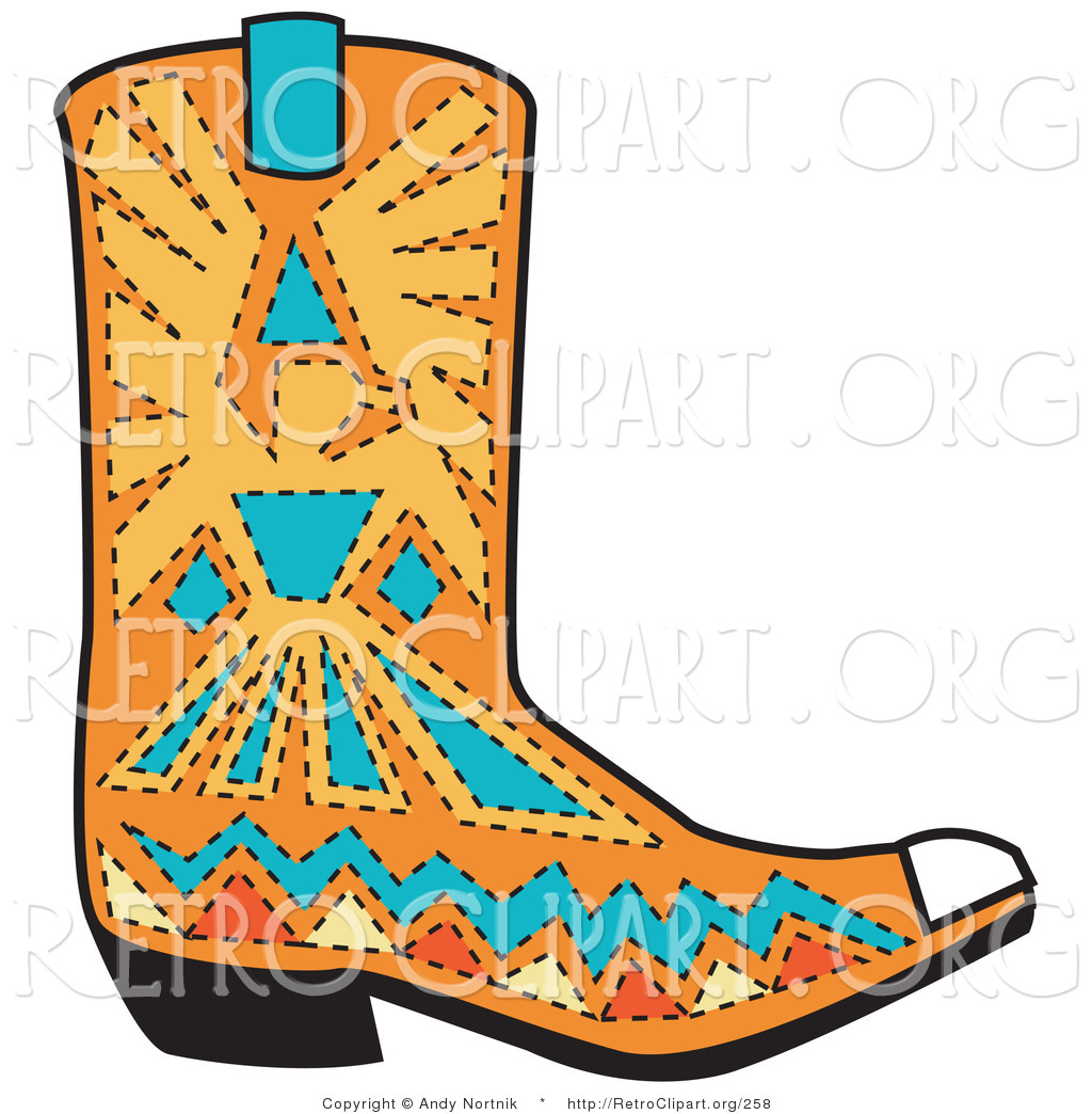 Royalty Free Stock Retro Designs of Cowboy Boots
