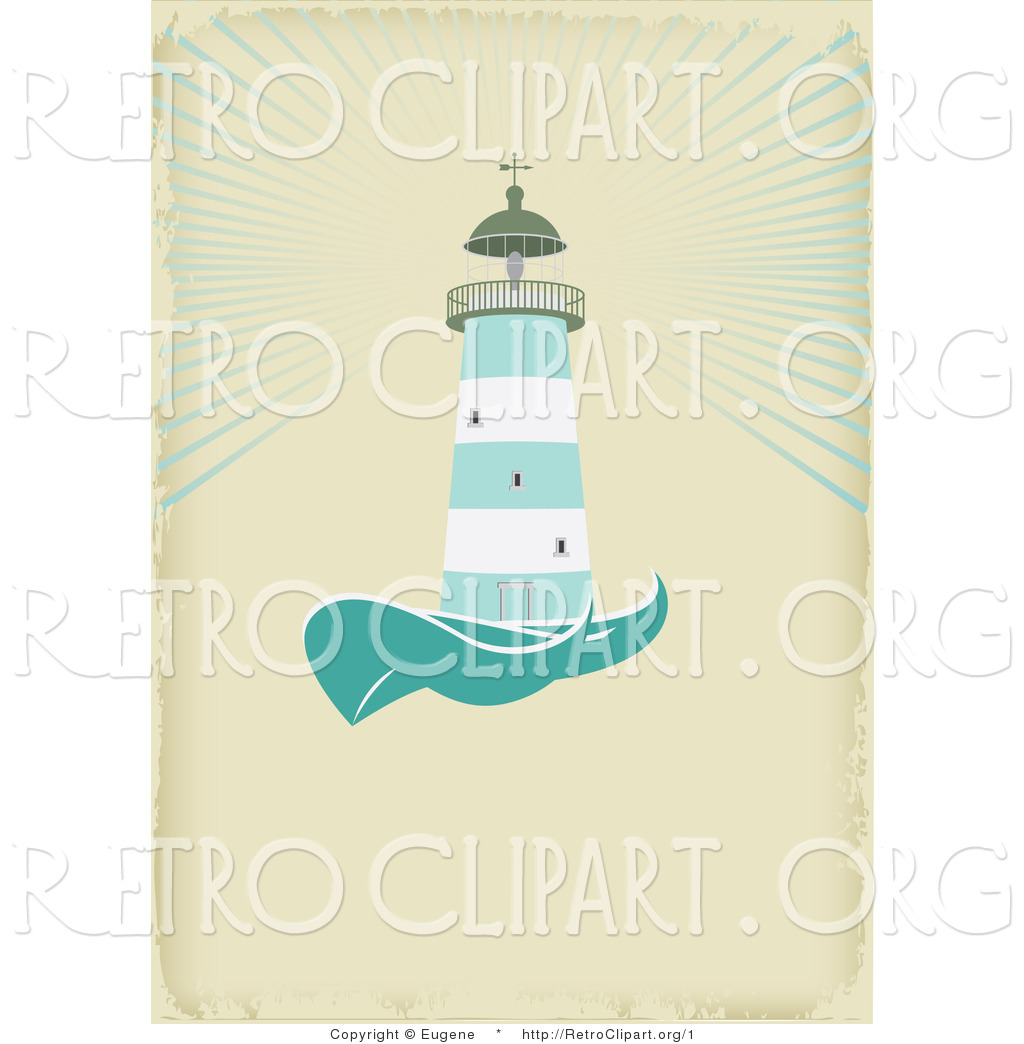 Vector Retro Clipart of a Nautical Light House on Tan by Eugene - #1
