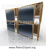 Clipart of 3d Stacked Retro Box Televisions by Frank Boston