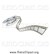 Clipart of a 3d Film Reel and Strip by AtStockIllustration