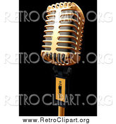 Clipart of a 3d Gold Microphone on Black by