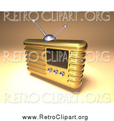 Clipart of a 3d Gold Retro Radio by Julos
