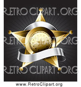 Clipart of a 3d Gold Star Police Badge with a Blank Silver Banner on a Bursting Gray Background by TA Images
