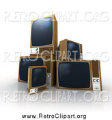 Clipart of a 3d Old Box TVs by Frank Boston