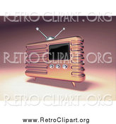 Clipart of a 3d Retro Pink Metal Radio by Julos