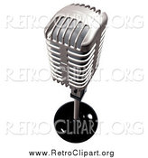Clipart of a 3d Retro Silver Microphone by