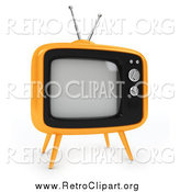 Clipart of a 3d Retro Yellow Box Tv by BNP Design Studio