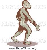 Clipart of a Ape Walking Upright by Patrimonio