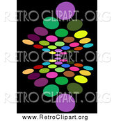 Clipart of a Background of Colorful Circles Reflecting on Black by KJ Pargeter