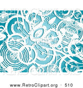 Clipart of a Background of Grunge White Circles over Blue by KJ Pargeter