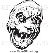 Clipart of a Black and White Bandaged Mummy Head with One Eyeball by Lawrence Christmas Illustration