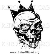 Clipart of a Black and White Bloody Joker Skull with Missing Teeth and One Eyeball by Lawrence Christmas Illustration