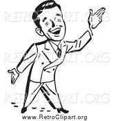 Clipart of a Black and White Happy Retro Businessman Gesturing up to the Right by BestVector