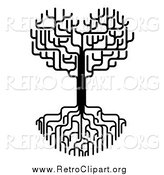 Clipart of a Black and White Heart Tree with Bare Branches and Roots by AtStockIllustration