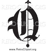 Clipart of a Black and White Retro Old English Letter O by BestVector