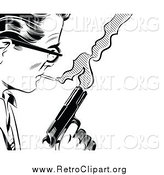 Clipart of a Black and White Retro Pop Art Man with a Cigarette and Gun by Brushingup