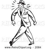 Clipart of a Black and White Retro Tough Businessman Walking by BestVector