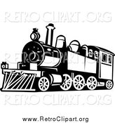 Clipart of a Black and White Retro Train by Patrimonio