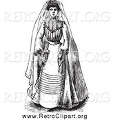 Clipart of a Black and White Vintage Bride in a Gown by BestVector