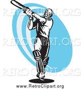 Clipart of a Black and White Woodcut Retro Cricket Batsman over a Blue Oval by Patrimonio