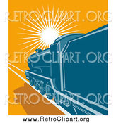 Clipart of a Blue Steam Engine Train Traveling Towards the Sunset by Patrimonio