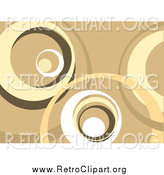 Clipart of a Brown, Tan and White Retro Background of Large Circles by KJ Pargeter