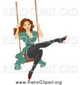 Clipart of a Brunette Woman Swinging in Stockings by BNP Design Studio