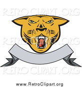 Clipart of a Cougar Head over a Blank Ribbon Banner by Patrimonio