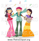 Clipart of a Dancing Teens at a Hippie Party by BNP Design Studio