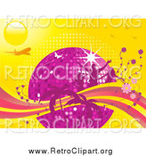 Clipart of a Disco Ball, Silhouetted Pink People, Flowers and Palm Trees with an Airplane and Butterflies on a Yellow Background by Elaineitalia