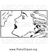 Clipart of a Distressed Pop Art Couple About to Kiss Black and White by Brushingup