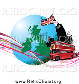 Clipart of a Double Decker Bus Passing Big Ben with a Globe and Waves by