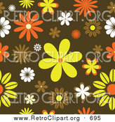August 25th, 2017: Clipart of a Funky Orange, Yellow and Brown Retro Floral Background by KJ Pargeter