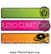 Clipart of a Green, Pink and Orange Retro Website Headers of a Microphone, Disco Ball and Record Player by Elena